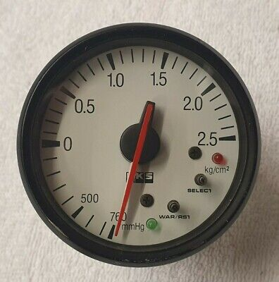 HKS Boost Gauge - 60mm White Face - Peak Hold And Warning. 2JZ RB26 200SX  • 135£