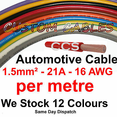 1m Red AUTO CABLE, 21 AMP CAR WIRING LOOM WIRE, 21A AUTOMOTIVE Kit • 0.99£