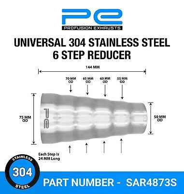 Universal 304 Stainless Exhaust 6 Step Reducer Adapter Connector Tube Pipe Cone • 11.95£
