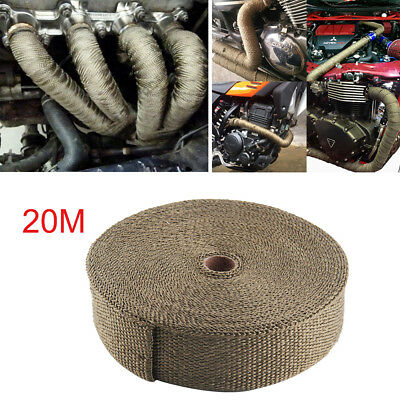 20m Titanium Exhaust Heat Wrap Exhaust Manifold Gold High Temp Insulating • 12.99£