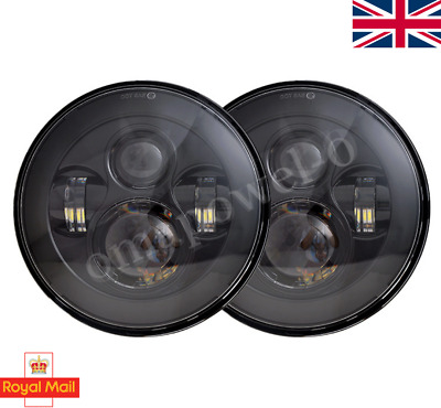 PAIR LED BLACK Headlights RHD E MARKED 7  H4 For Land Rover Defender 90 110  • 84.89£
