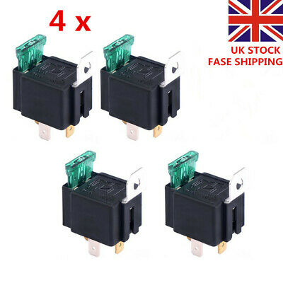 4 X 30A 12V CAR BOAT 4 PIN FUSE RELAY ON/OFF Fused Switch Spotlamps  Box Holder • 9.09£