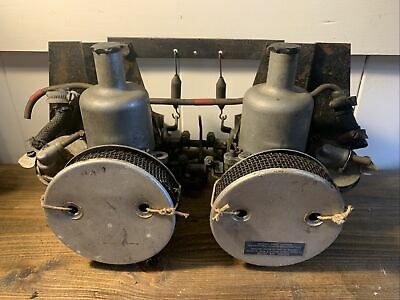 CLASSIC TWIN SU CARBURETTORS + MANIFOLD As Found In A Recent House Clearance. • 22£