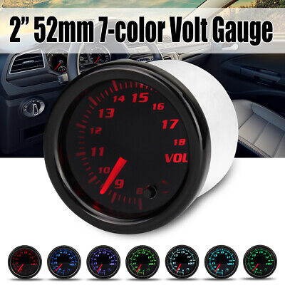 Universal 2'' 52mm Car LED Vacuum Volt Voltmeter Voltage Tachometer Gauge Meter • 14.34£