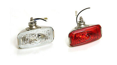 Classic Car Retro Rear Stainless Fog & Reverse Lamp Ford Mini Glass Pair Y3277/8 • 44.30£