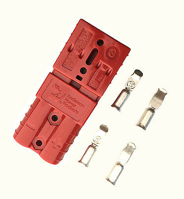 PAIR ANDERSON SB50A 600V Plug 4.7mm(M) CABLE RANGE TERMINAL POWER CONNECTOR-RED • 6.15£