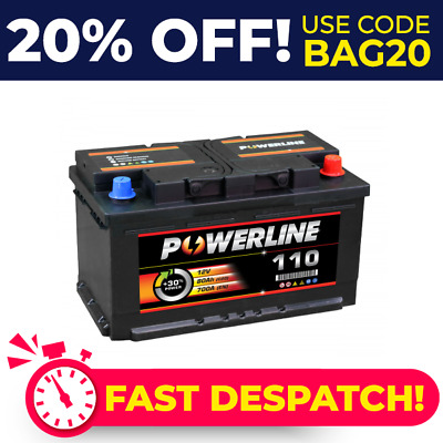 Type 110 12V 80Ah Powerline Car Battery - Fits Many VW - Next Day Del 4 Year Wty • 53.64£