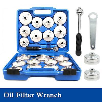 23 Cup Type Oil Filter Wrench Set Socket Tool Automotive Removal Garage Kit Tool • 22.99£