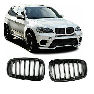 Bmw X5 E70 X6 E71 Front Bumper Kidney Grilles Gloss Black Abs 100% Oem Fit • 38.99£