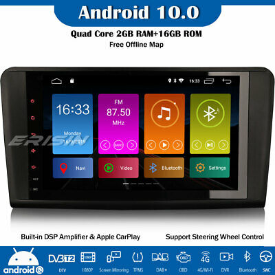 9  DSP Android 10.0 DAB+ Stereo Radio GPS CarPlay Mercedes ML/GL-Class W164 X164 • 186.87£
