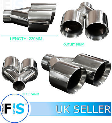UNIVERSAL T304 STAINLESS STEEL EXHAUST TWIN ROUND TAILPIPE 57mm INLET LEFT-VOW3 • 34.99£