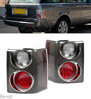 2 X LAND RANGE ROVER VOGUE L322 '02-'09 REAR TAIL LIGHT CLUSTER CARBON CLEAR/RED • 149.99£