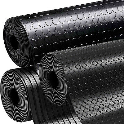 Rubber Flooring Garage Sheeting Matting Rolls 1M, 1.2M And 1.5M Wide X 3MM THICK • 30£