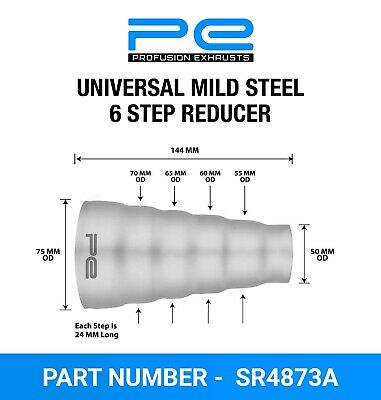 Universal Mild Steel Exhaust 6 Step Reducer Adapter Connector Tube Pipe Cone • 8.95£