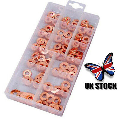 UK 150pcs Copper Diesel Injector Washer Seal Assortment Set New • 14.99£