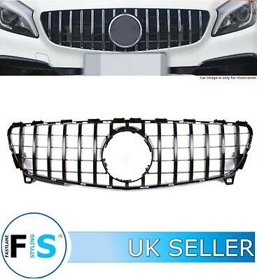 Mercedes A Class W176 Front Grille Panamericana Gt Style Gloss Black 2016-2018 • 89.99£