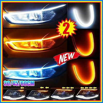2x Sequential LED Strip Turn Signal Indicator DRL Daytime Running Lights For Car • 8.69£