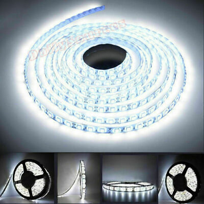 12v 5m Cool White Led 3528 Smd Flexible Wire Strip Light Rope Waterproof Uk Plug • 13.29£