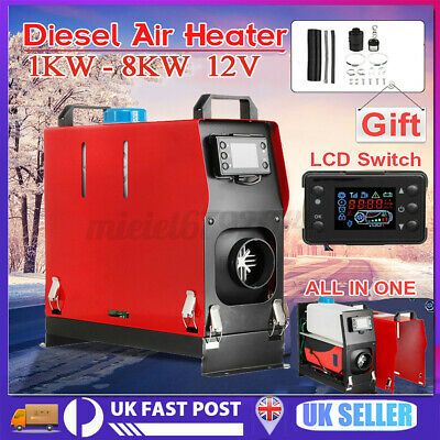 8KW 12V All In One Diesel Air Heater LCD Monitor Remote For Lorrys Boat Bus Home • 123.99£