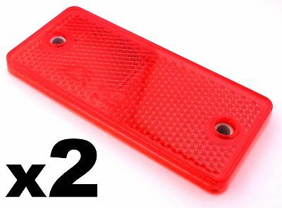 2x Red E-Approved Rectangular Reflectors For Trailers Caravan Gateposts • 2.69£