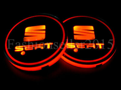2pcs For SEAT LED Car Cup Holder Pad Mat Interior Atmosphere Lights LEON IBIZA • 12.99£
