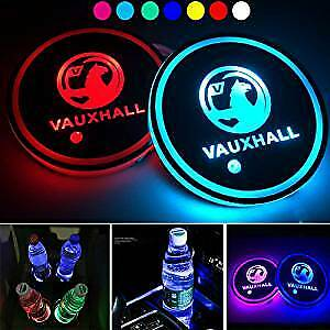2x Vauxhall LED Car Cup Holder  Pad With USB Auto Interior Atmosphere Lights • 12.99£
