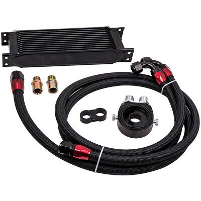 Black Universal 13-Row 10AN Engine Transmission Oil Cooler Kit +Filter Adapter • 73.30£