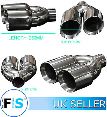 UNIVERSAL T304 STAINLESS STEEL EXHAUST TWIN ROUND TAILPIPE 57mm INLET RIGHT-VLV2 • 34.99£