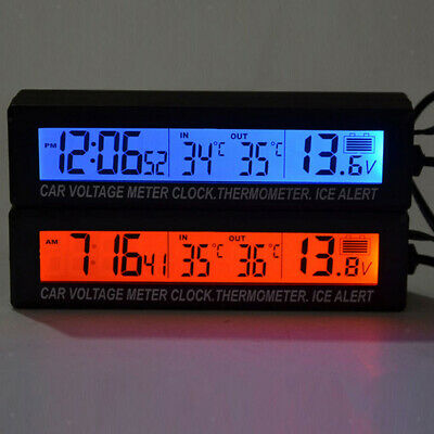 Car Auto Digital Clock Thermometer Indoor Outdoor Temperature Voltage Meters • 8.65£