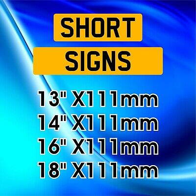 SHORT Single Rear Yellow Show Custom Plate Acrylic Number Plate NOT Road Legal • 12.59£