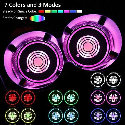 2PCS LED USB Car Cup Holder Pad Mats For Auto Car Atmosphere Lights Universal • 6.99£