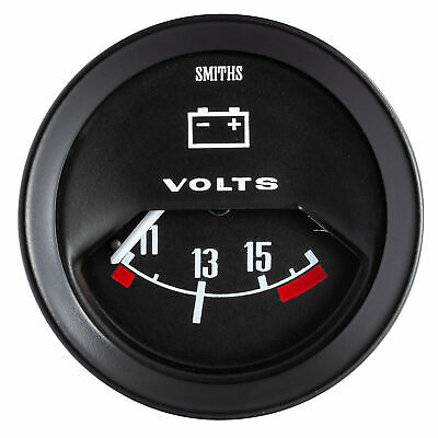 Smiths Vintage Race Classic Voltmeter Gauge With Black Dial Face And Bezel • 48.82£