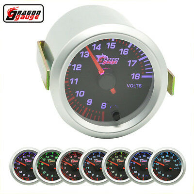 2  52MM UNIVERSAL CAR AUTO MOTOR White LED VOLTAGE VOLT GAUGE METER SMOKE • 15.13£