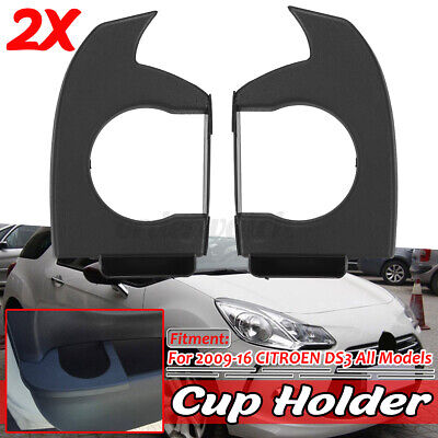 L + R Hand Side Cup Holder Drink Holder ABS Black For Citroen DS3 2009-2016 • 35.99£