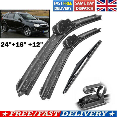 24 /16 /12  For Vauxhall Antara SUV Front Flat & Specific Fit Rear Wiper Blades • 8.99£