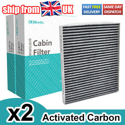 2X Activated Carbon Pollen Cabin Air Filter For Hyundai Genesis I40 Veloster FS • 8.79£