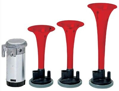 Stebel 12V GP3 Triple Trumpet Air Horn In Red New • 35£
