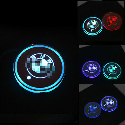2pcs RGB LED For Bmw Car Cup Holder Lights Interior Illuminated Badge Logo Lamps • 10.98£