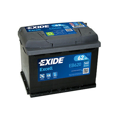 1x Exide Excell 62Ah 540CCA 12v Type 027 Car Battery 3 Year Warranty - EB620 • 48.99£