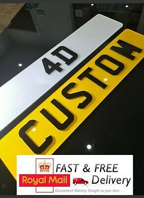 Pair Of 4D 3D SHOW PLATES Normal Size 4D Number Plates FRONT & REAR • 26.99£