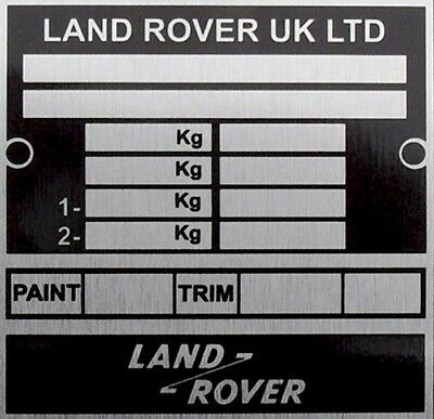 Land Rover Defender 90 110 130 Bulkhead Chassis Info Vin Plate Plaque FREE POST • 14.95£