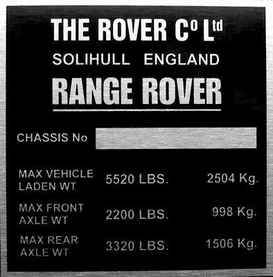 L-R RANGE ROVER CLASSIC ALL MODELS Bulkhead Info Plate Plaque Chassis/VIN PLATE • 14.95£