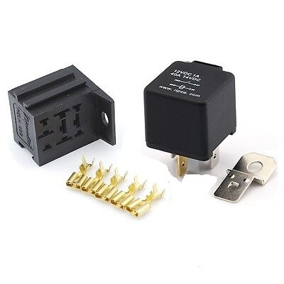 12V 4 Pin 40 Amp Normally Open Automotive Relay With Mounting Base & Terminals • 5.49£