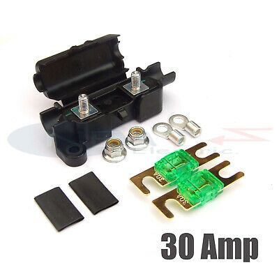 Midi Car Inline Fuse Holder With 2 X 30 Amp Midi Fuses Terminals And Heat Shrink • 4.79£