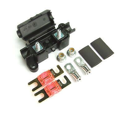 Midi Car Inline Fuse Holder With 2 X 50 Amp Midi Fuses Terminals And Heat Shrink • 4.79£