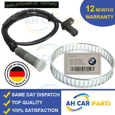 BMW 3 SERIES ABS RELUCTOR RING+ABS SENSOR KIT 320d REAR LEFT OR RIGHT • 29£