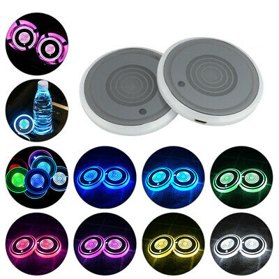 2 PCS 7 Colorful LED Car Cup Holder USB Charging Mat Coaster Pad Changing Lights • 8.99£