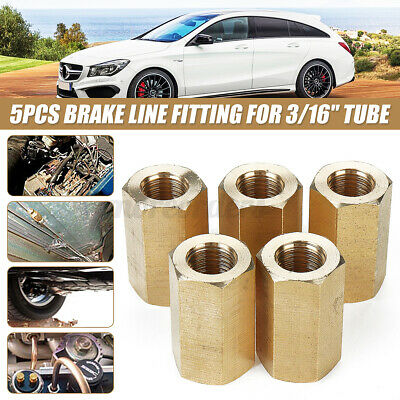5pc X 3/16  Brake Line Pipe Inline Connector Coupler  `. • 9.39£