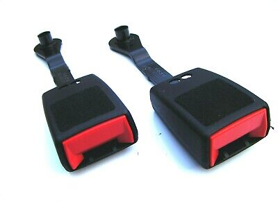 2 X Universal Car Van Safety Seat Belt Buckle Ends Adapter Black/red Clips • 9.99£