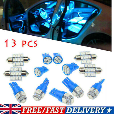 13pcs Car 12V Interior LED Blue Lights For Dome License Plate Lamps Accessories • 8.39£